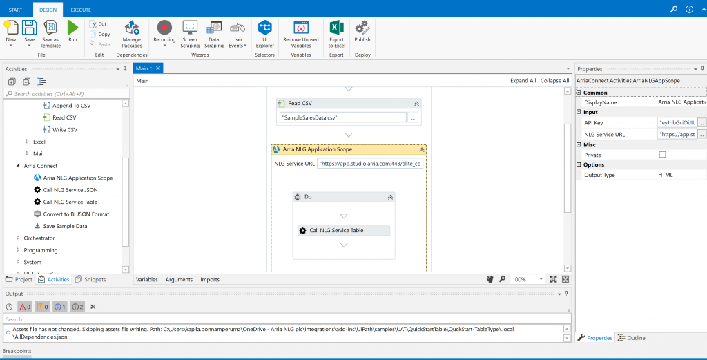 UiPath: Integrating with Arria | Studio Samples